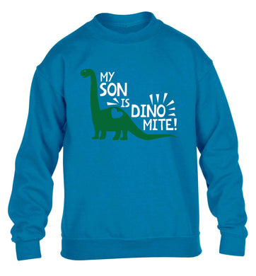 My son is dinomite! children's blue sweater 12-13 Years