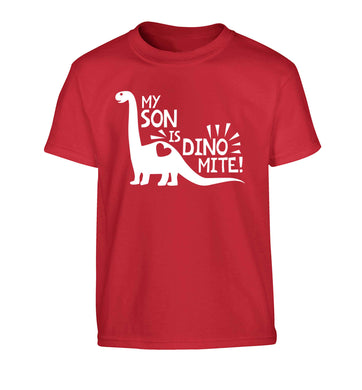 My son is dinomite! Children's red Tshirt 12-13 Years