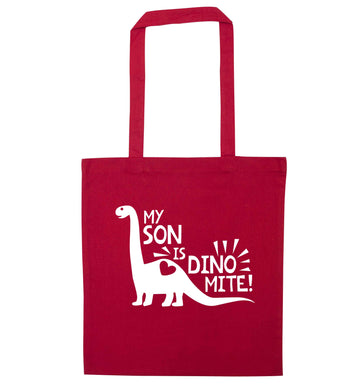 My son is dinomite! red tote bag