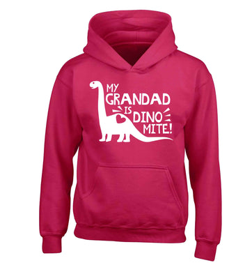 My grandad is dinomite! children's pink hoodie 12-13 Years