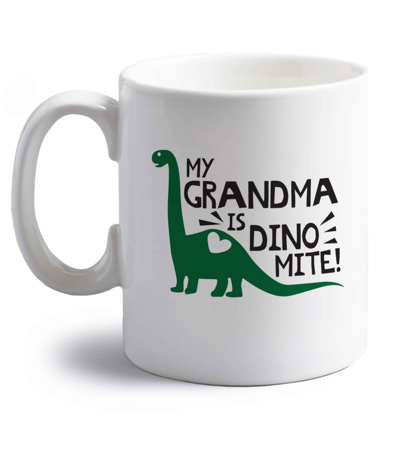 My grandma is dinomite! right handed white ceramic mug