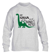 My nana is dinomite! children's grey sweater 12-13 Years
