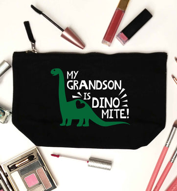 My grandson is dinomite! black makeup bag