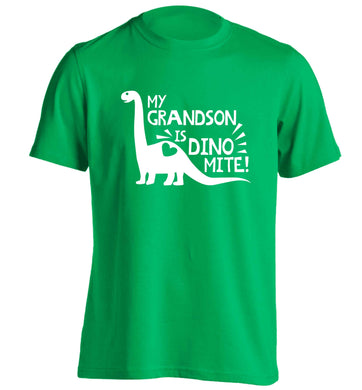 My grandson is dinomite! adults unisex green Tshirt 2XL