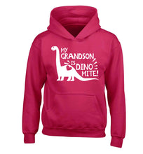 My grandson is dinomite! children's pink hoodie 12-13 Years
