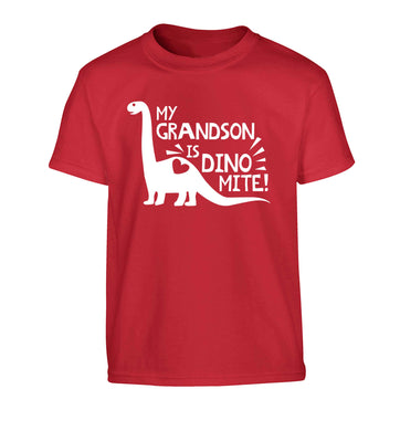 My grandson is dinomite! Children's red Tshirt 12-13 Years