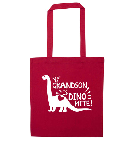 My grandson is dinomite! red tote bag