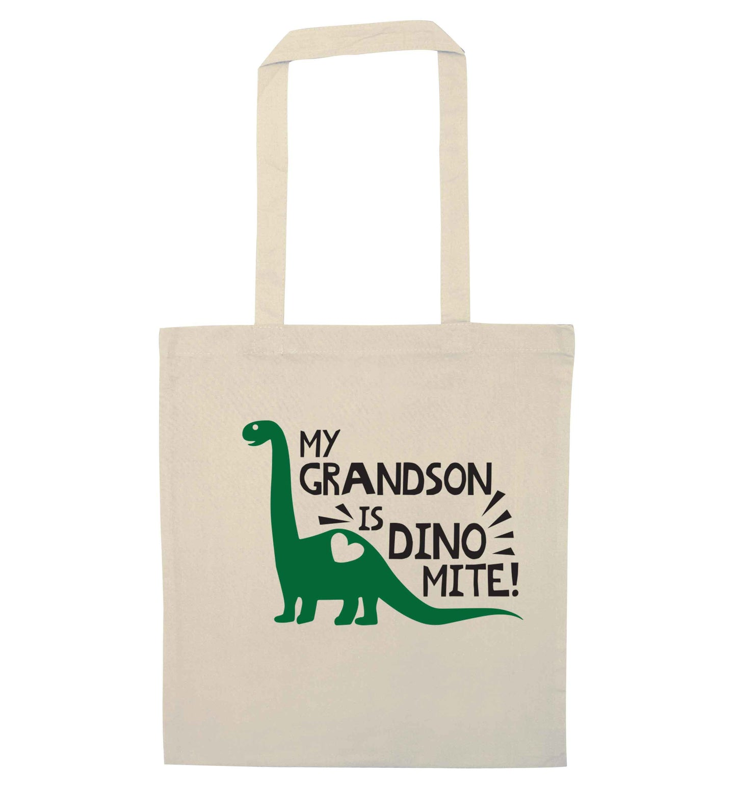 My grandson is dinomite! natural tote bag