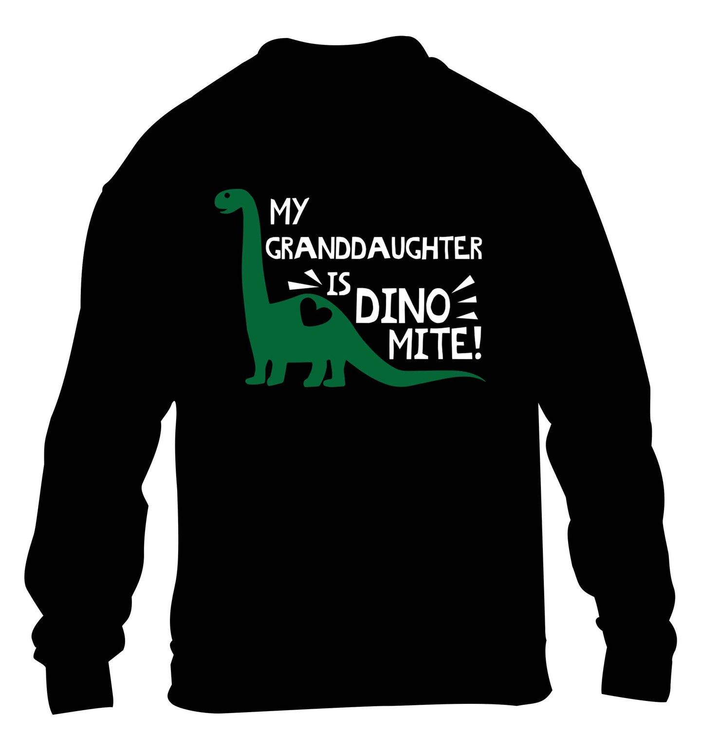 My granddaughter is dinomite! children's black sweater 12-13 Years