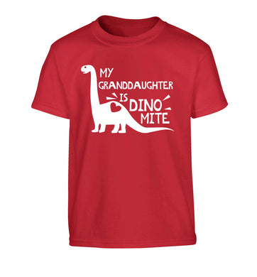 My granddaughter is dinomite! Children's red Tshirt 12-13 Years