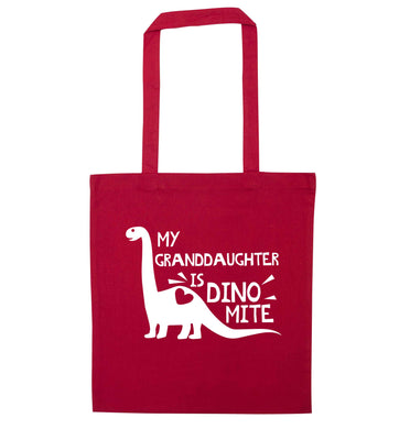 My granddaughter is dinomite! red tote bag