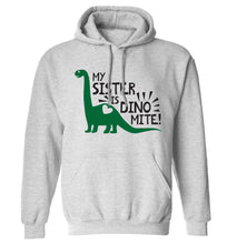 My sister is dinomite! adults unisex grey hoodie 2XL