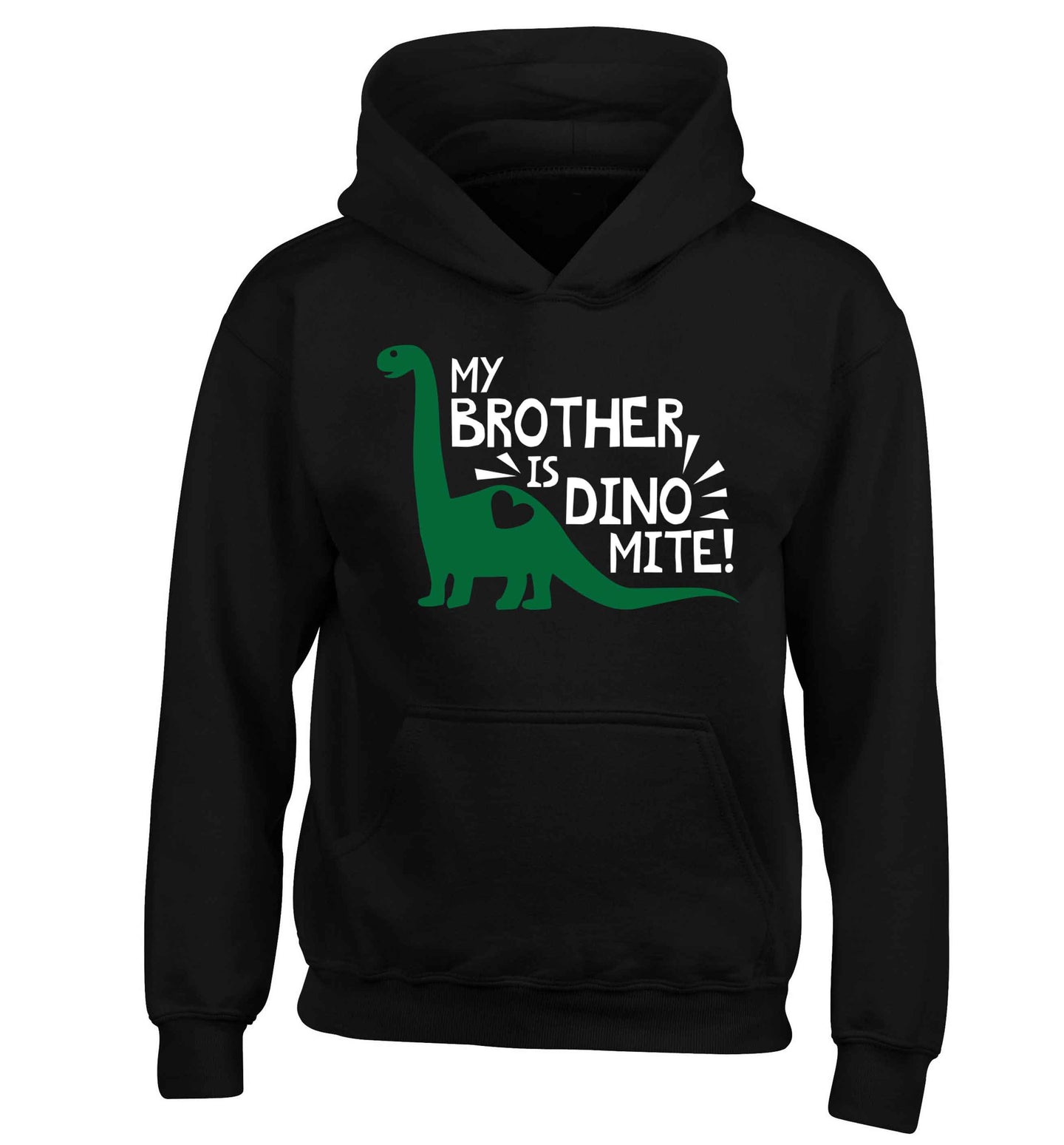 My brother is dinomite! children's black hoodie 12-13 Years