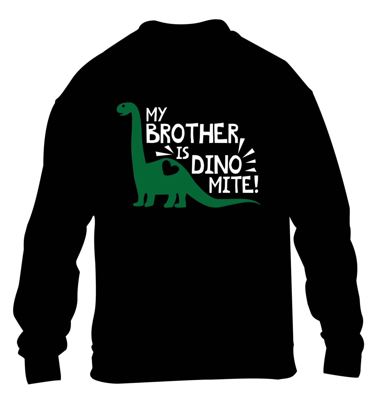 My brother is dinomite! children's black sweater 12-13 Years