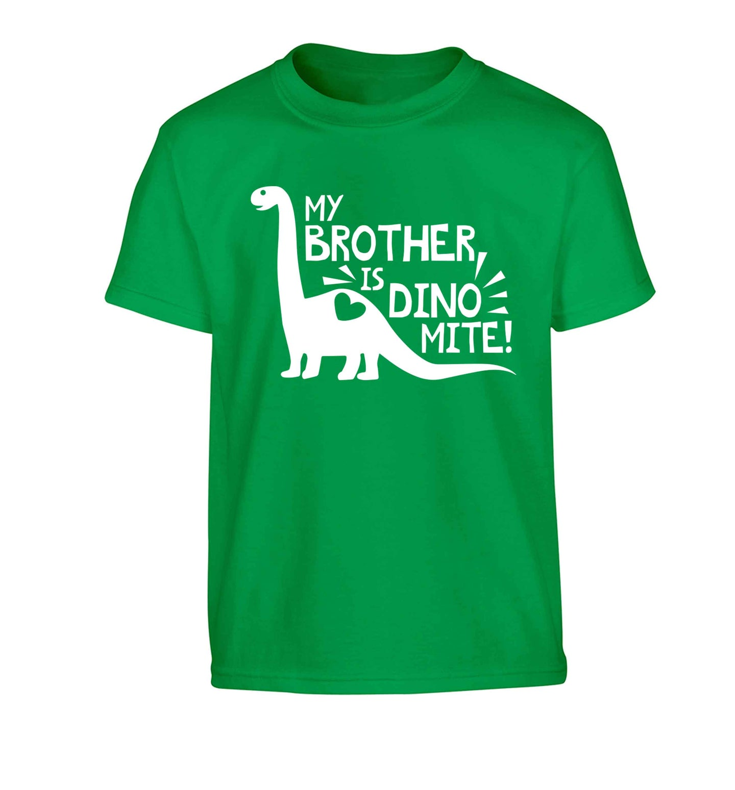 My brother is dinomite! Children's green Tshirt 12-13 Years