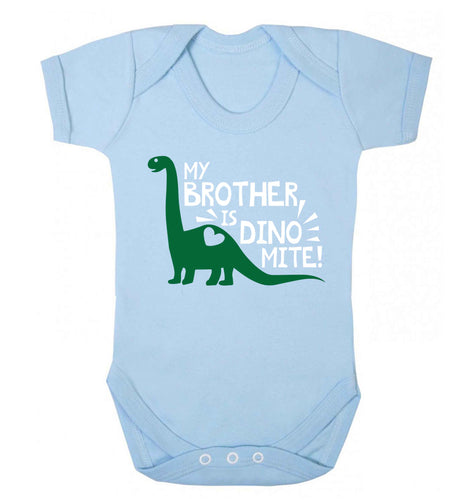 My brother is dinomite! Baby Vest pale blue 18-24 months
