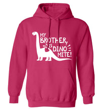 My brother is dinomite! adults unisex pink hoodie 2XL