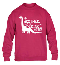 My brother is dinomite! children's pink sweater 12-13 Years