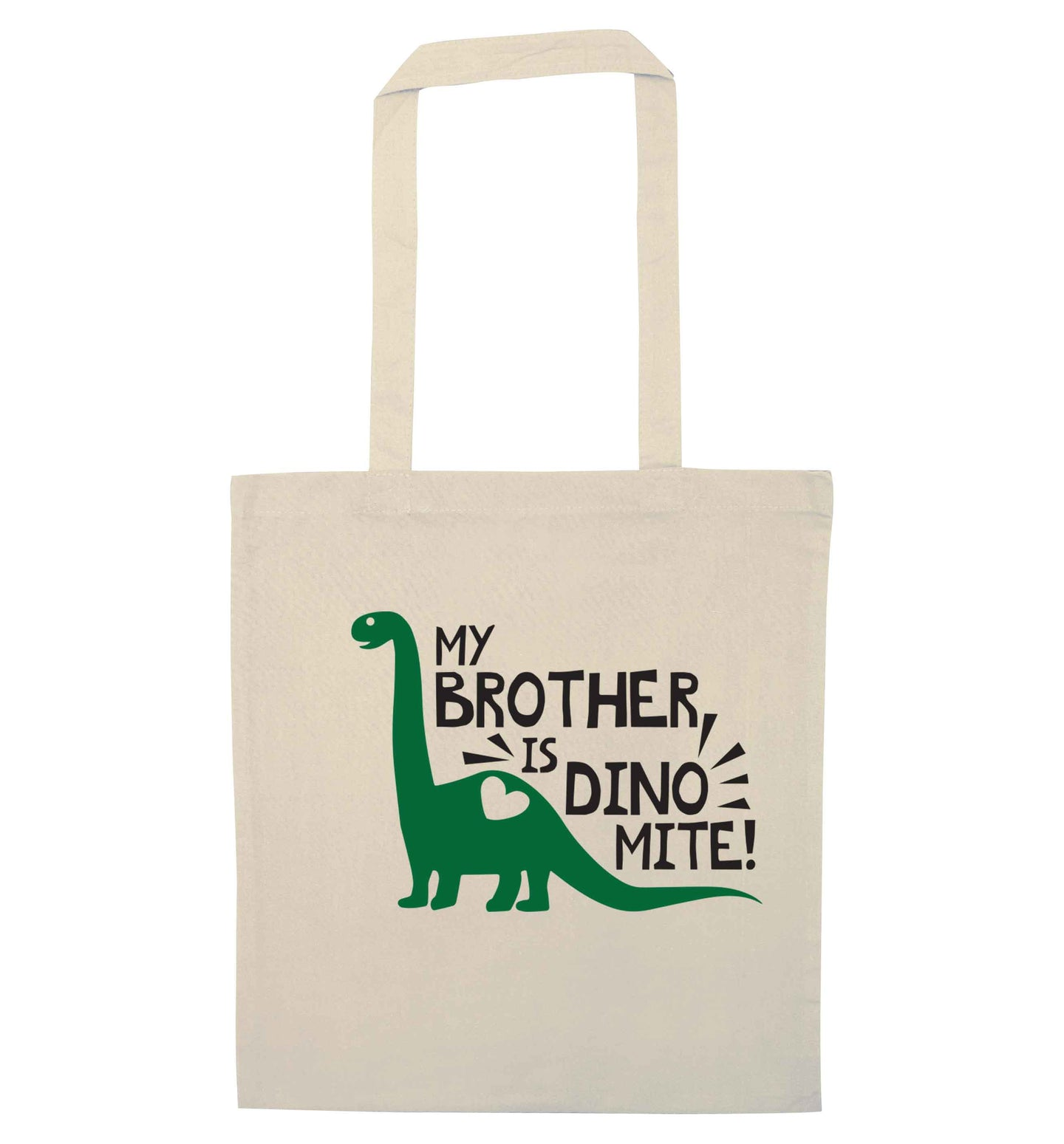 My brother is dinomite! natural tote bag