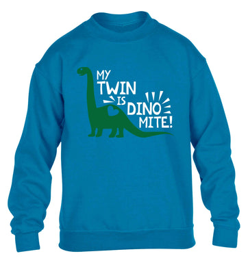 My twin is dinomite! children's blue sweater 12-13 Years