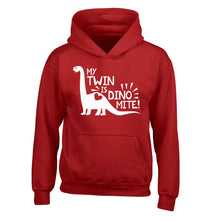 My twin is dinomite! children's red hoodie 12-13 Years