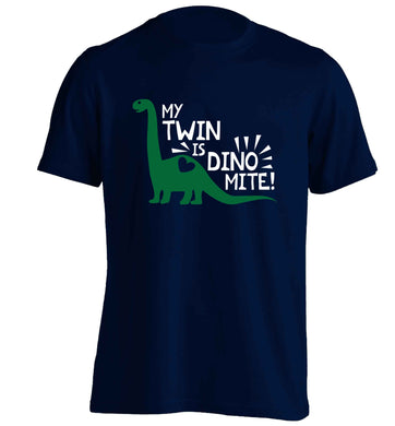 My twin is dinomite! adults unisex navy Tshirt 2XL