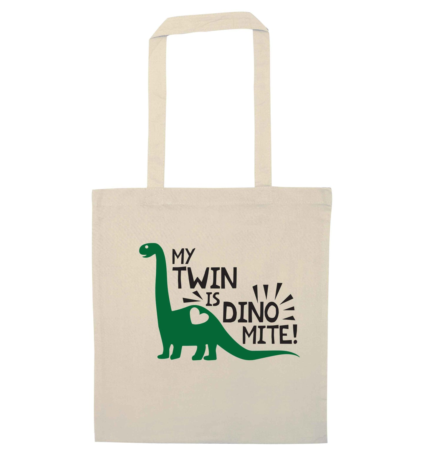 My twin is dinomite! natural tote bag