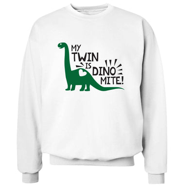 My twin is dinomite! Adult's unisex white Sweater 2XL