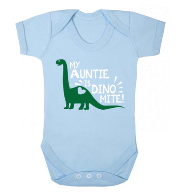 My auntie is dinomite! Baby Vest pale blue 18-24 months