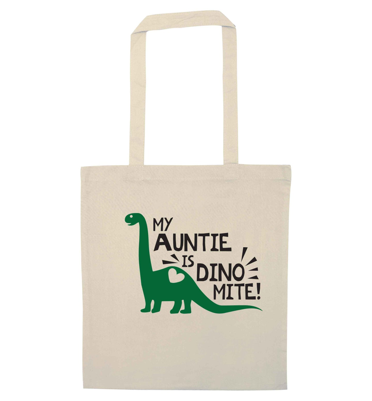 My auntie is dinomite! natural tote bag