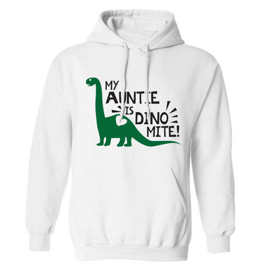 My auntie is dinomite! adults unisex white hoodie 2XL