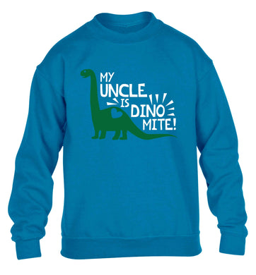 My uncle is dinomite! children's blue sweater 12-13 Years