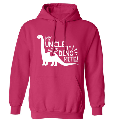 My uncle is dinomite! adults unisex pink hoodie 2XL
