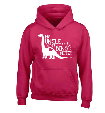 My uncle is dinomite! children's pink hoodie 12-13 Years