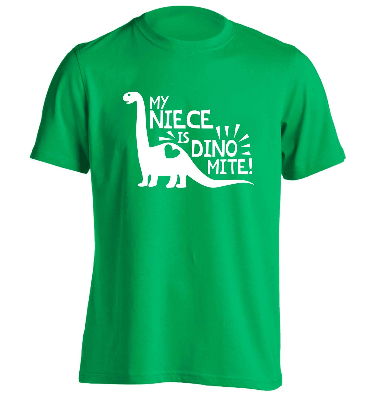 My niece is dinomite! adults unisex green Tshirt 2XL
