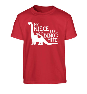 My niece is dinomite! Children's red Tshirt 12-13 Years