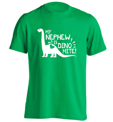 My nephew is dinomite! adults unisex green Tshirt 2XL