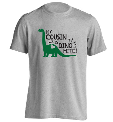 My cousin is dinomite! adults unisex grey Tshirt 2XL