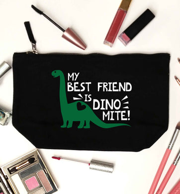 My best friend is dinomite! black makeup bag