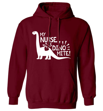 My nurse is dinomite! adults unisex maroon hoodie 2XL