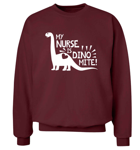 My nurse is dinomite! Adult's unisex maroon Sweater 2XL