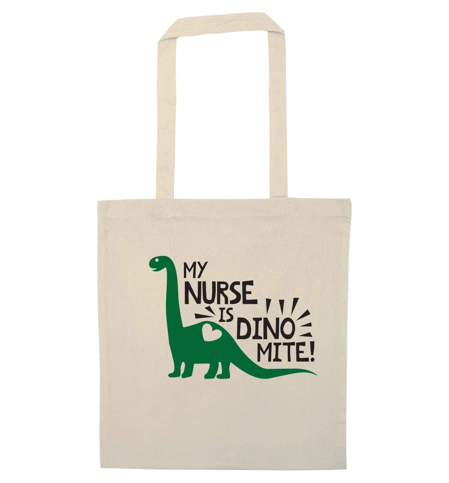 My nurse is dinomite! natural tote bag