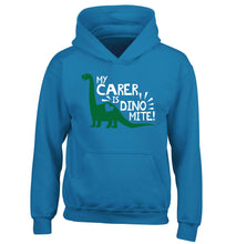 My carer is dinomite! children's blue hoodie 12-13 Years