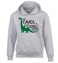 My carer is dinomite! children's grey hoodie 12-13 Years
