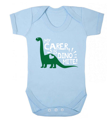 My carer is dinomite! Baby Vest pale blue 18-24 months