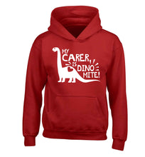 My carer is dinomite! children's red hoodie 12-13 Years