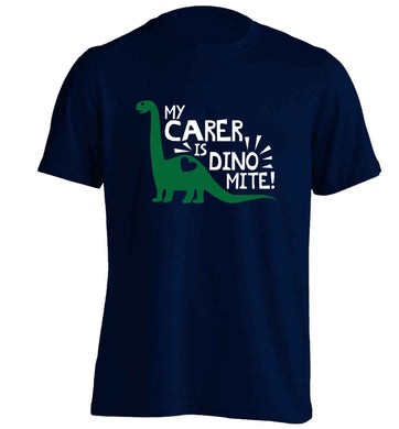 My carer is dinomite! adults unisex navy Tshirt 2XL