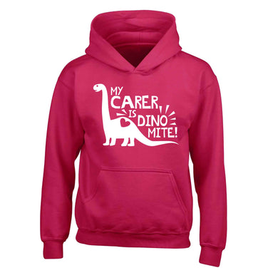 My carer is dinomite! children's pink hoodie 12-13 Years