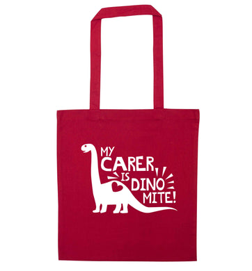 My carer is dinomite! red tote bag