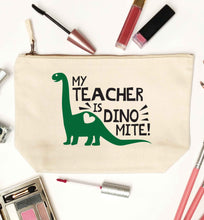 My teacher is dinomite! natural makeup bag